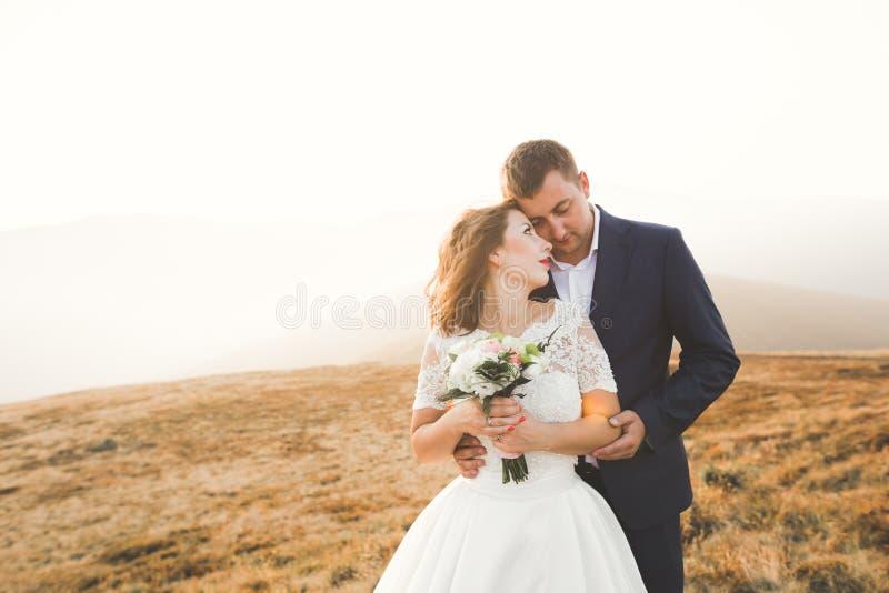 La novia y el novio hermosos felices de los pares de la boda en el día de boda al aire libre en las montañas oscilan Pares de la  fotos de archivo libres de regalías