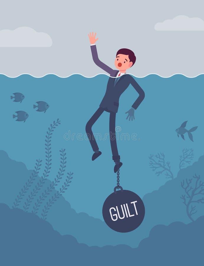 La noyade d'homme d'affaires a enchaîné avec une culpabilité de poids illustration de vecteur