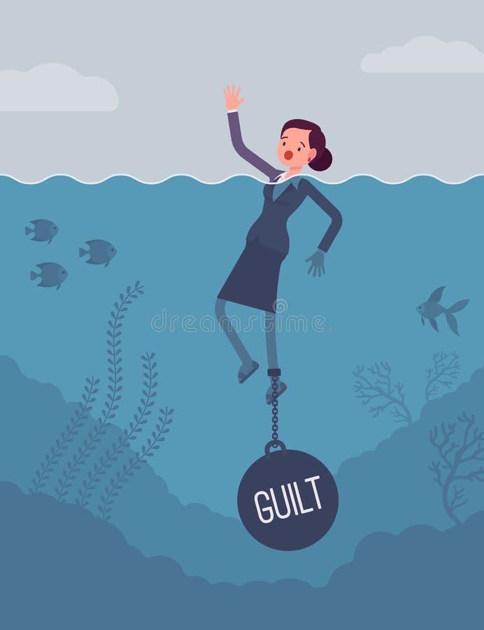 La noyade de femme d'affaires a enchaîné avec une culpabilité de poids illustration de vecteur
