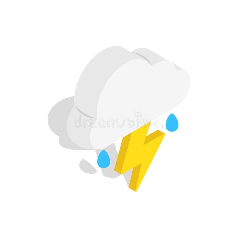 La nube blanca con el relámpago y la lluvia cae el icono libre illustration