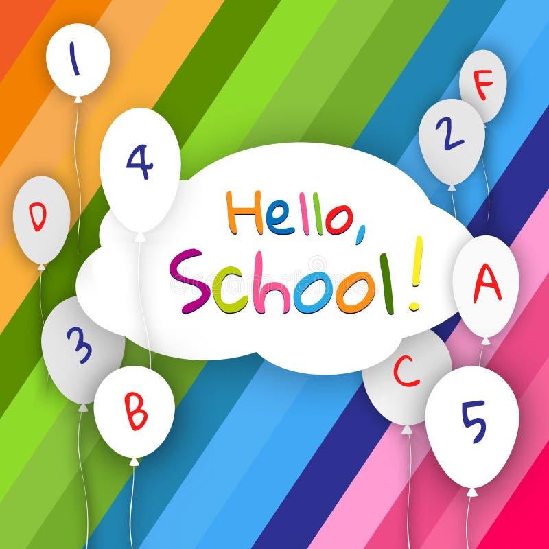 La nube de la bandera con los globos en líneas coloridas de un fondo brillante manda un SMS hola, escuela de nuevo a tema joven d stock de ilustración