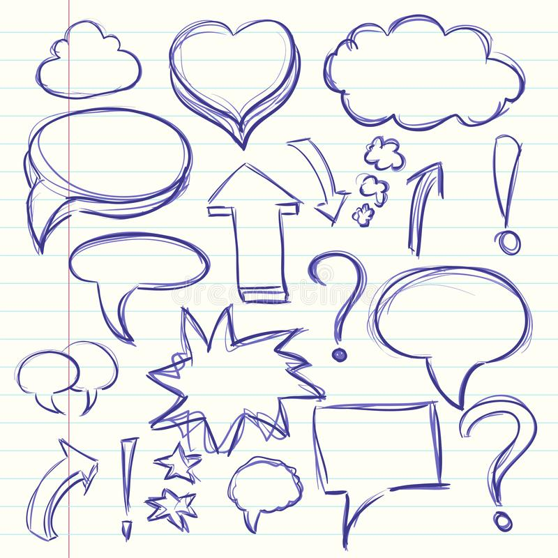 La nube de la conversación de los pensamientos en los tebeos, la exclamación y los signos de interrogación Dibujo de bosquejo de  ilustración del vector