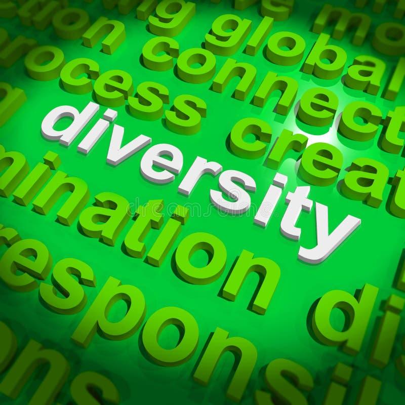 La nube de la palabra de la diversidad muestra la cultura diversa multicultural ilustración del vector