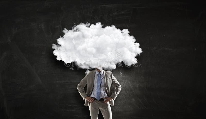 La nube dirigió al hombre Técnicas mixtas imagen de archivo libre de regalías
