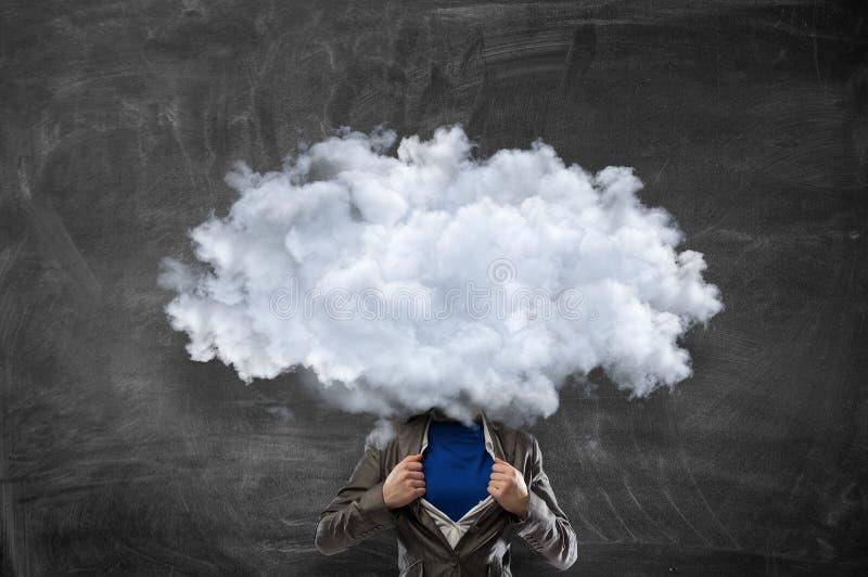La nube dirigió al hombre Técnicas mixtas imagen de archivo