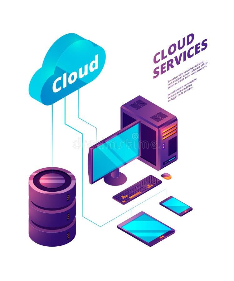 La nube mantiene 3d Las informáticas en línea de la seguridad se nublan vector del servidor del ordenador portátil del smartphone ilustración del vector