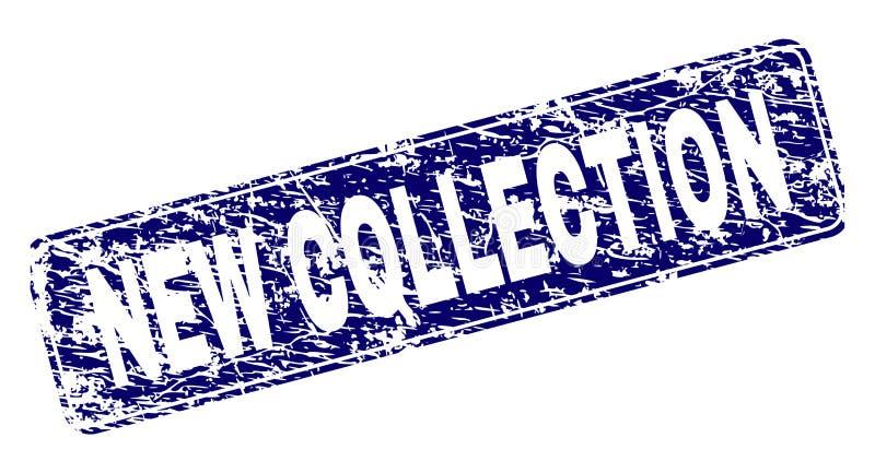 La NUEVA COLECCIÓN rasguñada enmarcó el sello redondeado del rectángulo ilustración del vector
