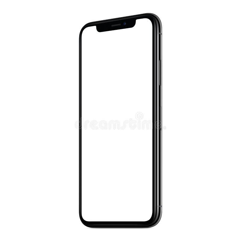 La nueva maqueta moderna CW del smartphone giró levemente aislado en el fondo blanco stock de ilustración