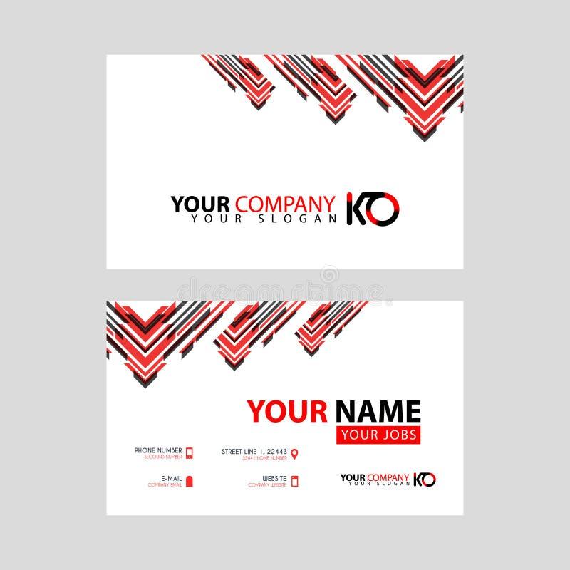 La nueva tarjeta de visita simple es negro rojo con la prima de la letra del logotipo del knock-out y el diseño limpio moderno ho libre illustration