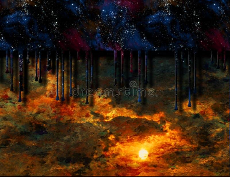 La nuit étoilée s'égoutte dans le coucher du soleil illustration de vecteur