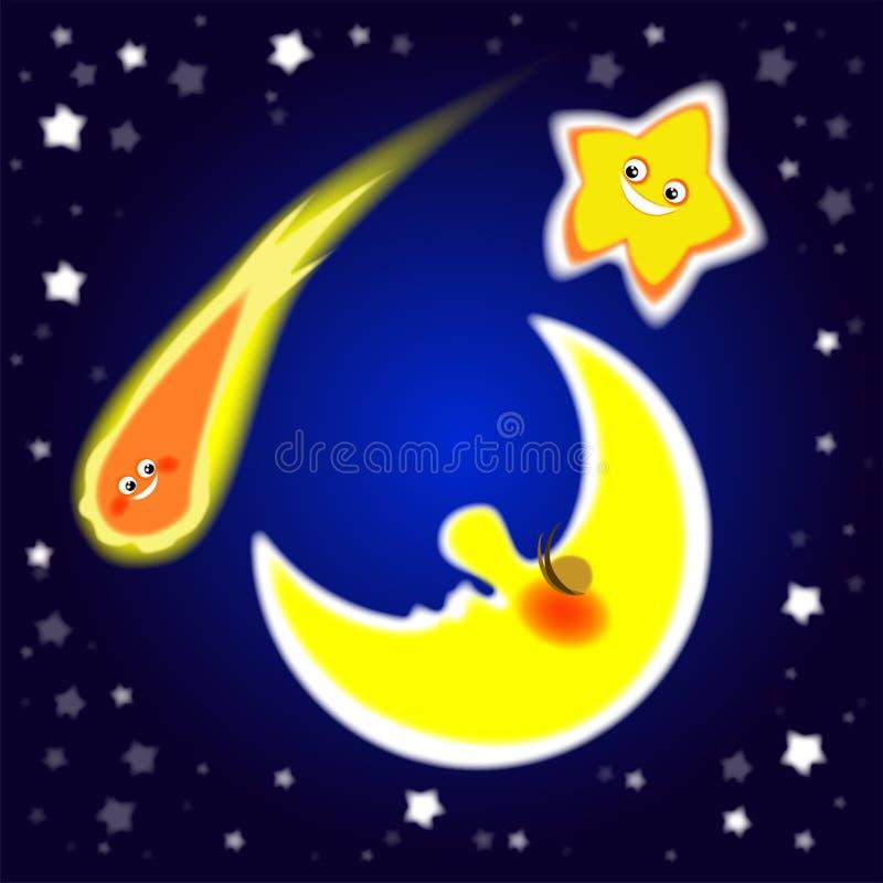 La nuit, ciel d'été, éclat de mois, étoile lumineuse, comète vole, bonheur, joie, positif illustration libre de droits