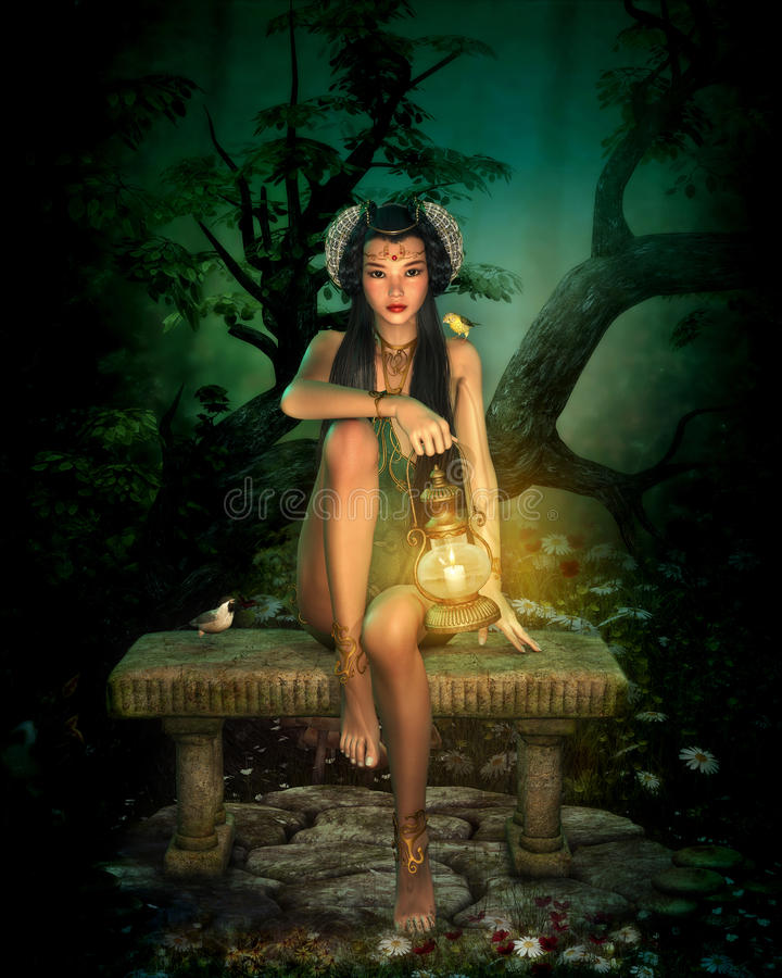 La nuit dans l'Elvenforest 3d CG. illustration stock