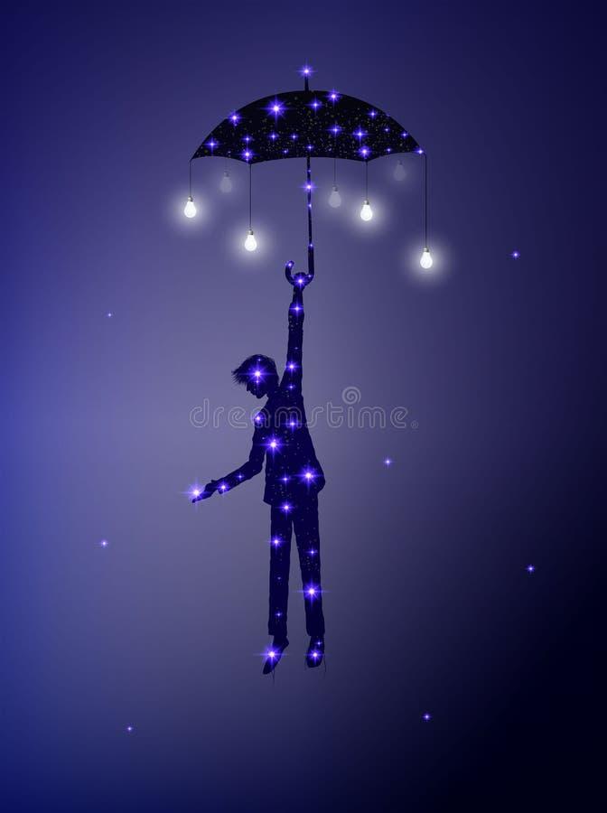 La nuit féerique venant, a mis l'étoile sur le ciel nocturne, la silhouette brillante de l'homme avec le parapluie et l'ampoule,  illustration libre de droits