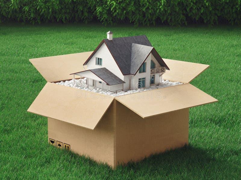 La nuova casa in una scatola, la serra, l'ambiente, 3d rende l'illustrazione illustrazione vettoriale