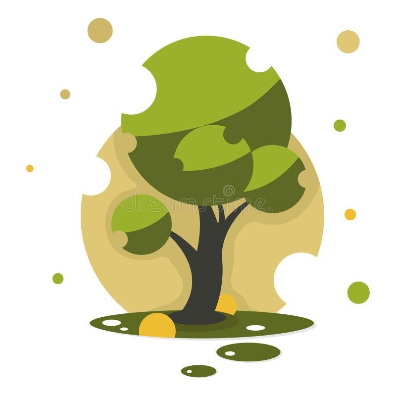 La nuova icona dell'albero di stile del fumetto isolata su fondo bianco può usare come l'elemento di progettazione royalty illustrazione gratis