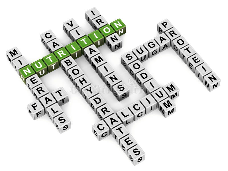 La nutrición redacta el crucigrama stock de ilustración