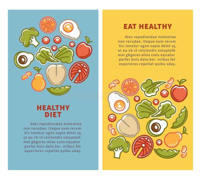 La nutrición sana de la comida y de la dieta vector verduras de los carteles, las frutas y la proteína de los cereales ilustración del vector
