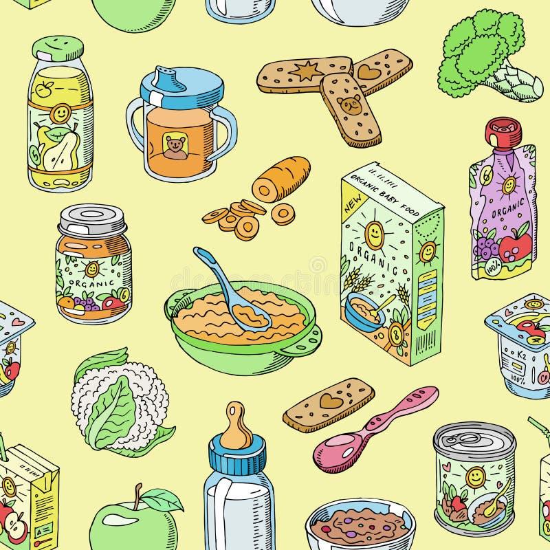 La nutrition saine et le légume d'enfant de vecteur d'aliment pour bébé ont écrasé la purée dans l'ensemble d'illustration de pot illustration libre de droits