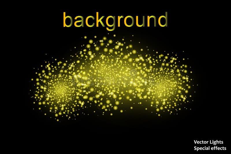 La nuvola di scintillio dell'oro o l'esplosione brillante delle particelle ha scoppiato l'effetto dorato di lusso di struttura de royalty illustrazione gratis