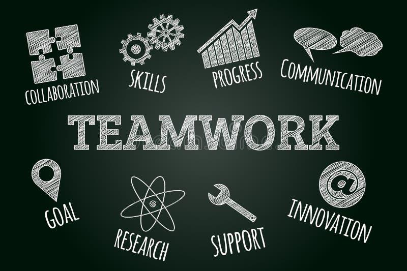 La nuvola schizzata di parola di lavoro di squadra ha collegato le icone e le parole illustrazione vettoriale