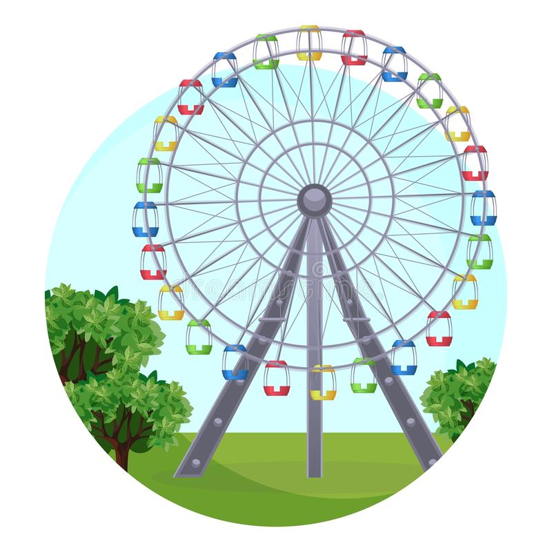 La observación grande de Ferris que gira rueda adentro el parque en las hojas verdes ilustración del vector