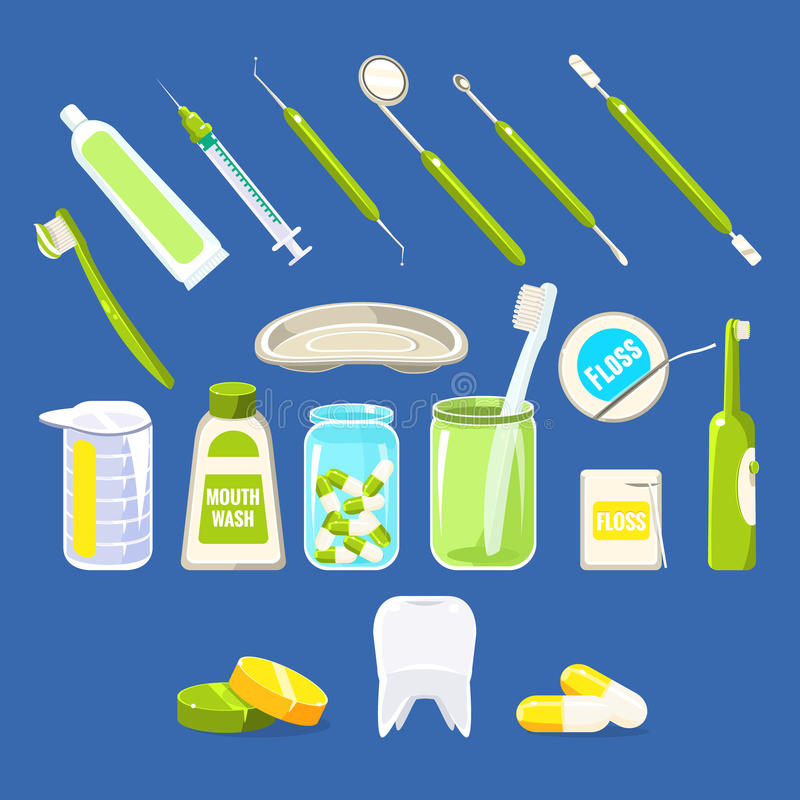 La odontología relacionó los objetos fijados stock de ilustración