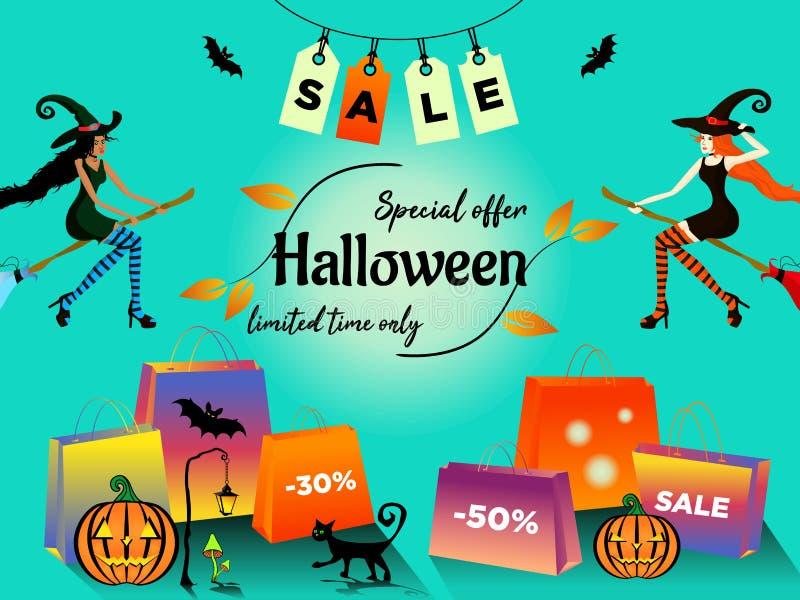 La oferta especial de la venta de Halloween con la mujer joven dos de piel morena y blanco-pelada en trajes de brujas vuela en un stock de ilustración