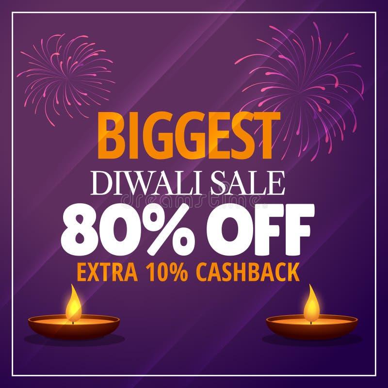 La oferta más grande de la venta del diwali con diya y los fuegos artificiales stock de ilustración