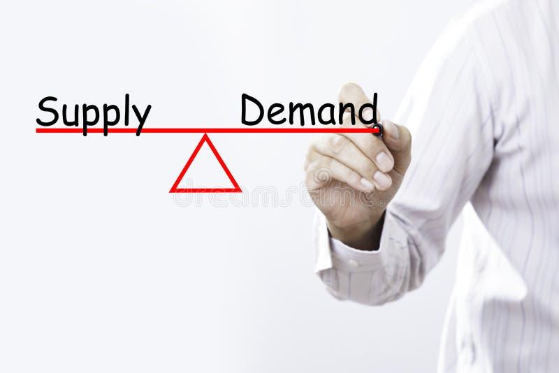 La oferta y la demanda del dibujo de la mano del hombre de negocios equilibran concepto fotografía de archivo libre de regalías