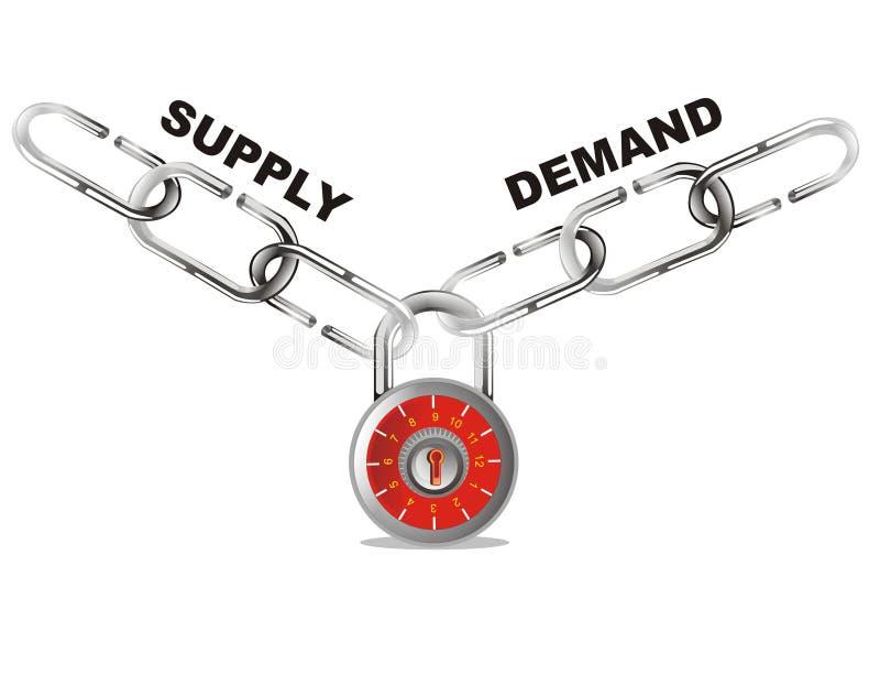 La oferta y la demanda conectan el encadenamiento ilustración del vector