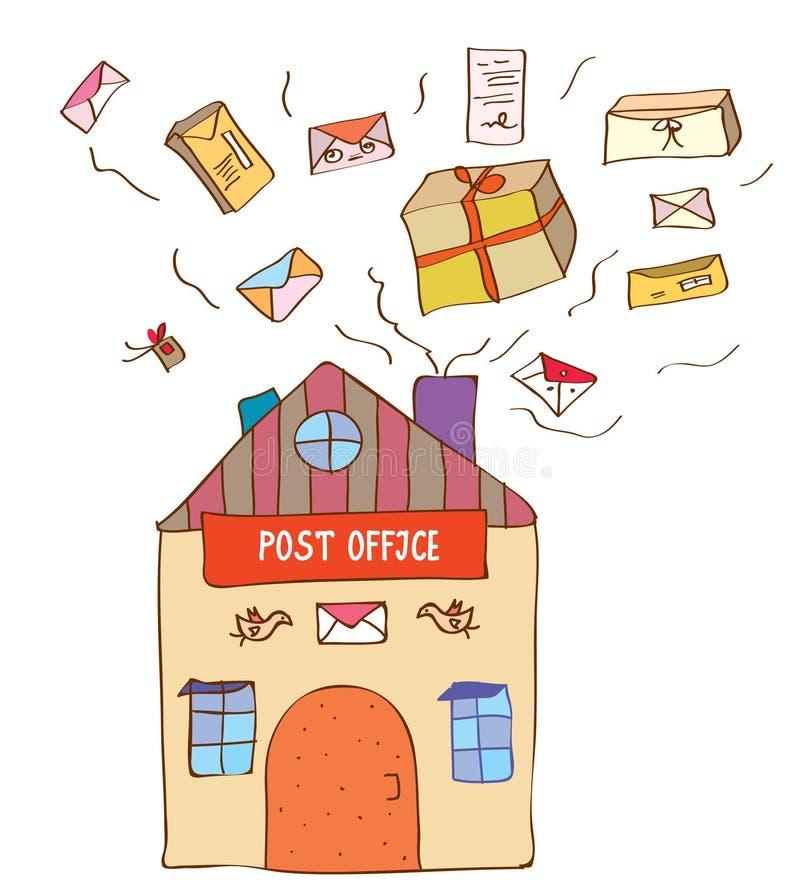 La oficina de correos con muchas letras y cajas ilustración del vector