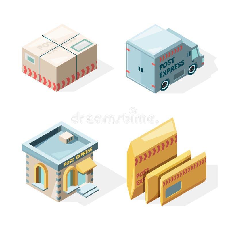 La oficina de correos Imágenes isométricas del vector del trabajador del cartero del buzón de correos del cargo del servicio de e ilustración del vector