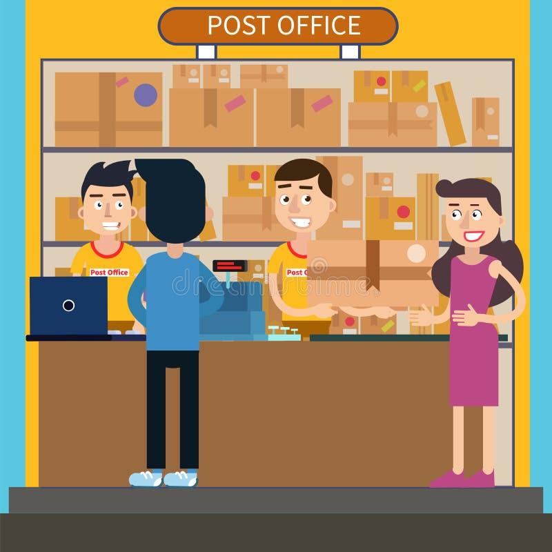 La oficina de correos mujer que recibe el paquete servicio for Correos es oficina virtual