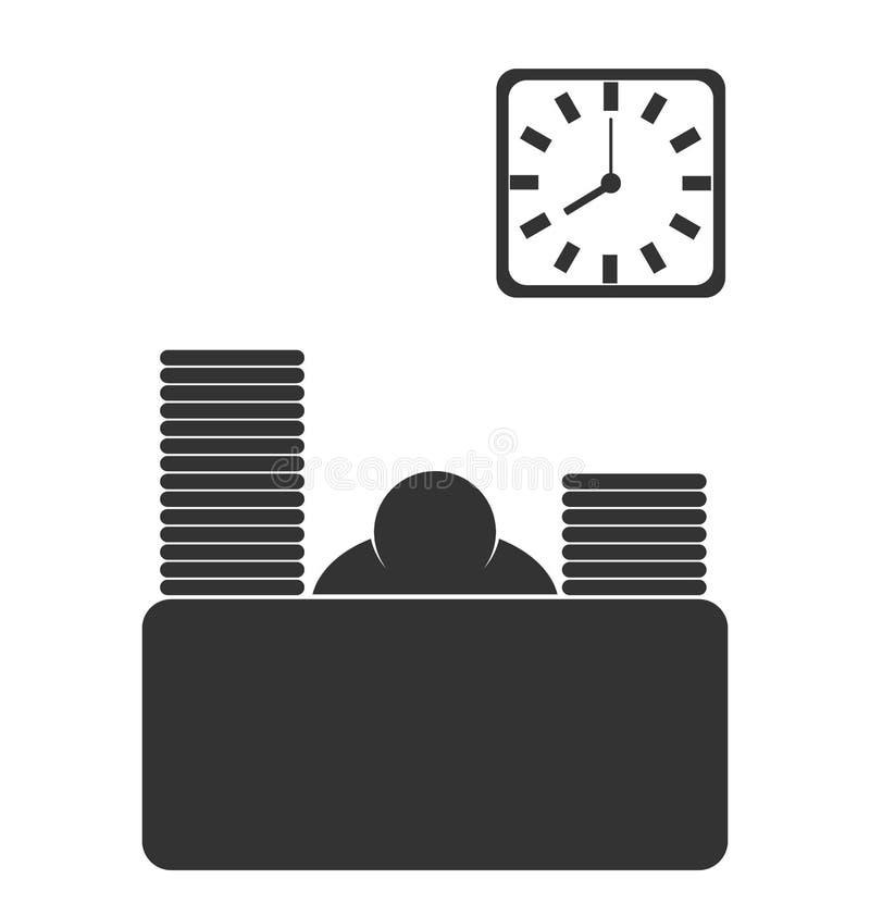 La oficina de negocios se esfuma el icono plano del trabajador aislado en blanco ilustración del vector
