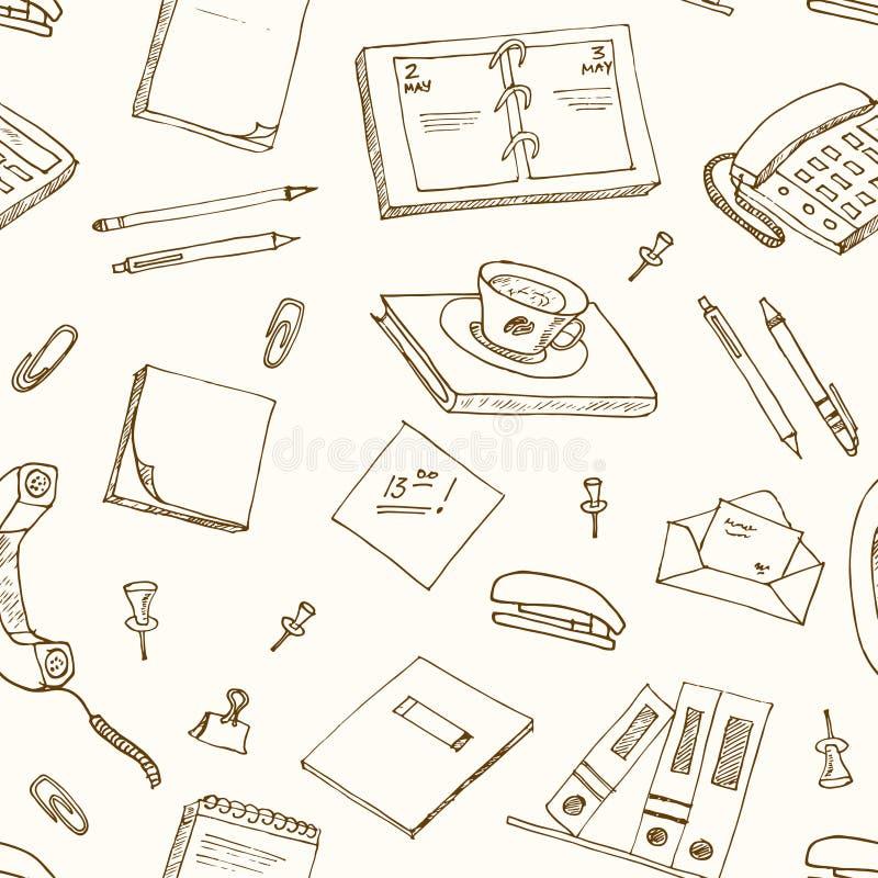 La oficina equipa la pluma de los garabatos, lápices, libro, papel ilustración del vector