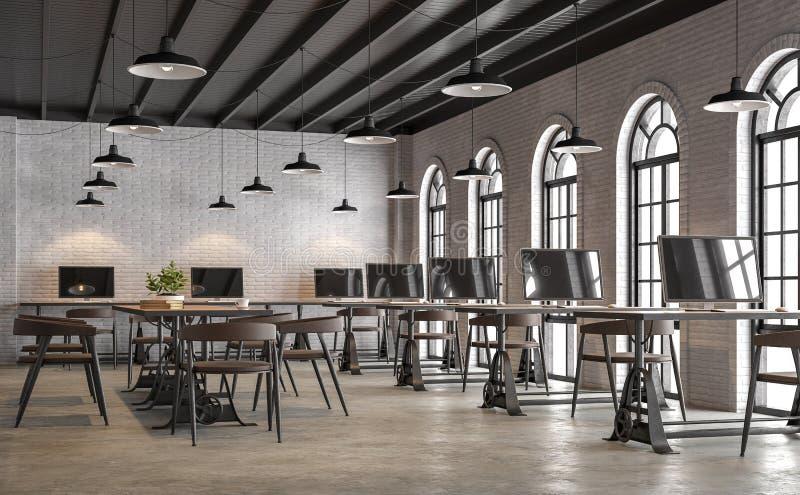 La oficina industrial del estilo del desván con la ventana 3d de la forma del arco rinde ilustración del vector