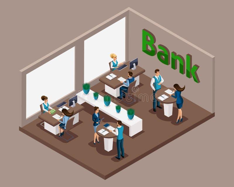 La oficina isométrica los empleados del banco, banco sirve a los clientes, emisión de los préstamos, tarjetas de crédito, depósit ilustración del vector