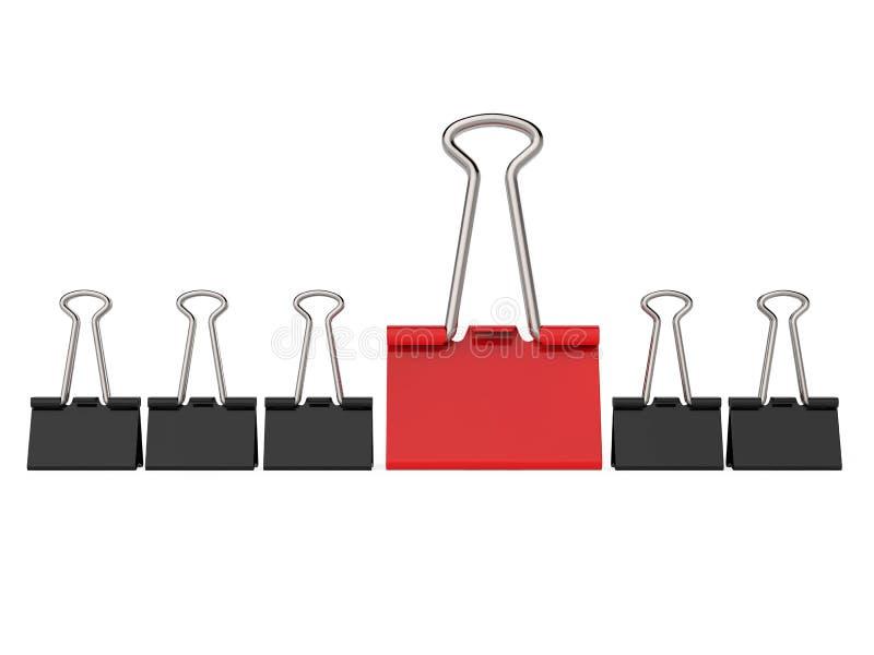 La oficina negra y roja acorta fila imagen de archivo
