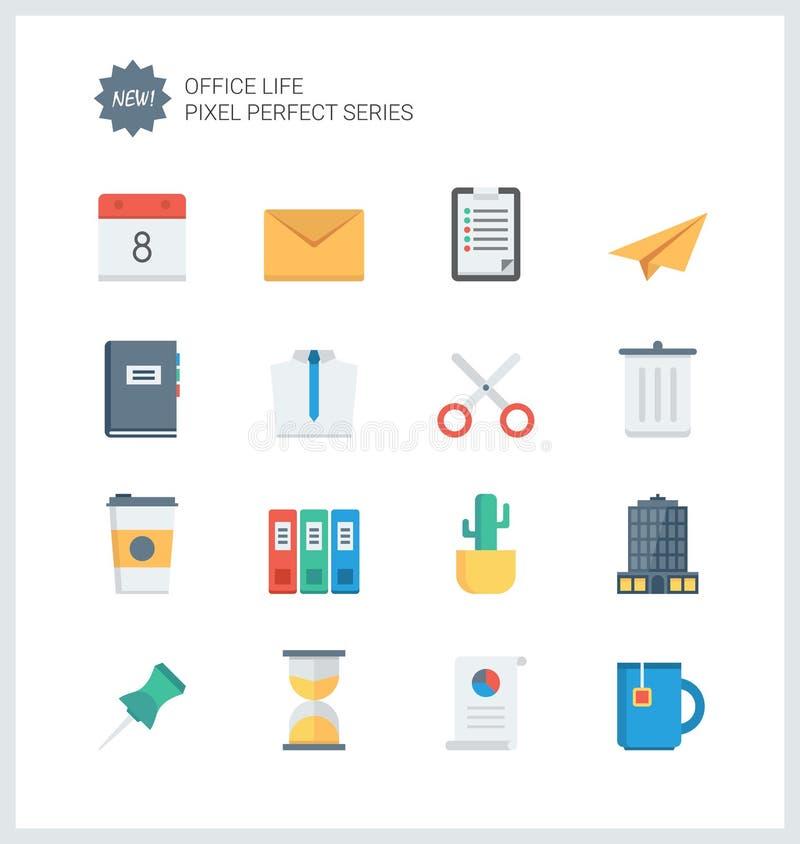La oficina perfecta del pixel equipa iconos planos stock de ilustración
