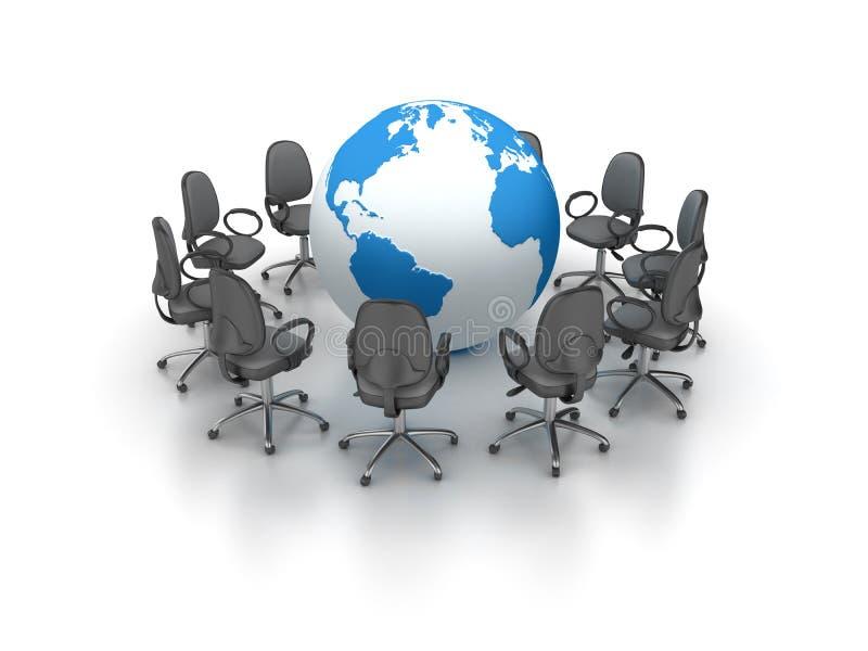 La oficina preside la reunión con el mundo del globo libre illustration