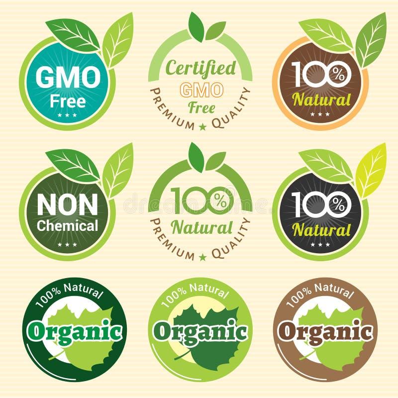 La OGM no OGM libre y etiqueta orgánica de la garantía etiqueta la etiqueta engomada del emblema stock de ilustración