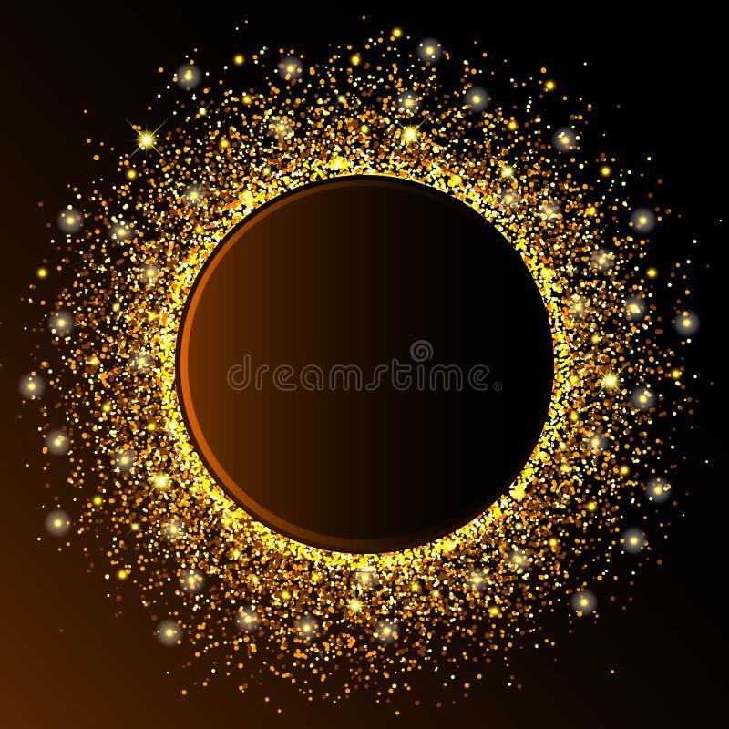 La onda de oro del círculo chispea el fondo abstracto de oro, brillo de oro en un fondo del marrón oscuro, plantilla del diseño d stock de ilustración