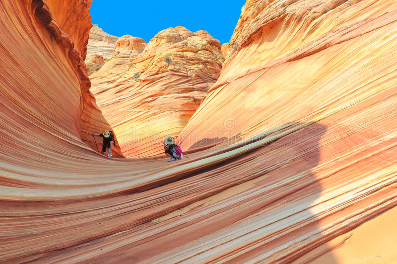 La onda en Arizona, formación de roca asombrosa de la piedra arenisca foto de archivo libre de regalías