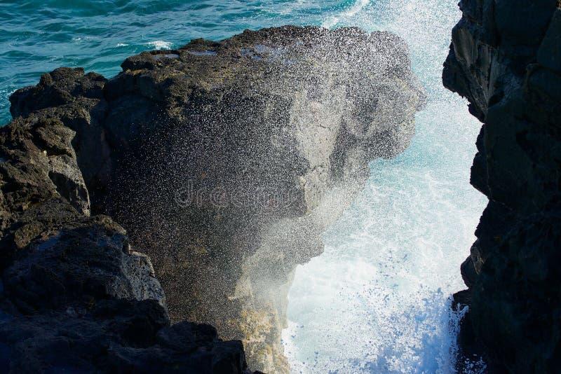 La onda que analiza a salpica en las rocas en el Gris-Gris, isla de la orilla de Mauricio imagen de archivo