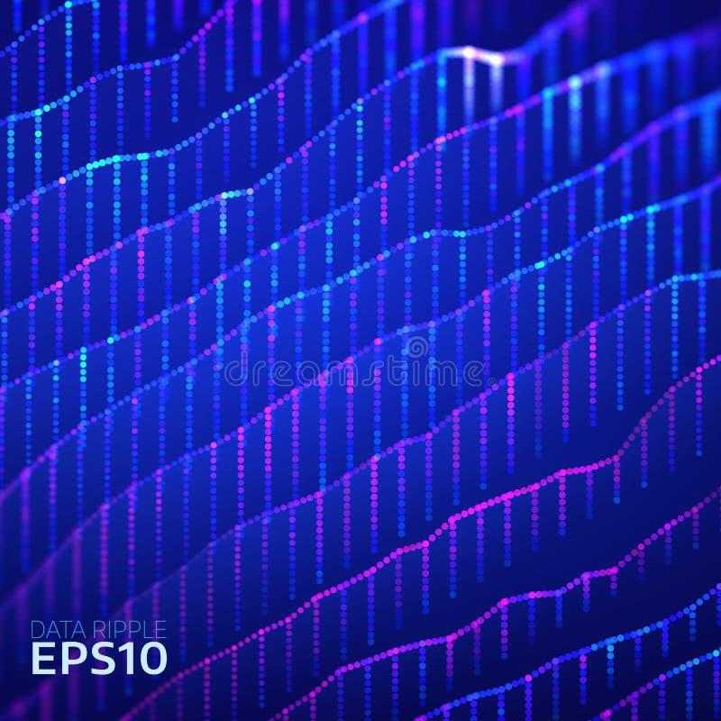 La ondulación abstracta de los datos acoda el fondo Los datos agitan concepto futurista de la información Análisis de la carta ilustración del vector