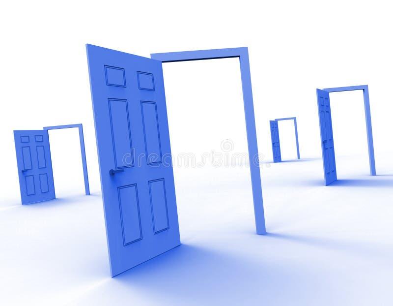 La opción de las puertas significa alternativa de la entrada y decide ilustración del vector