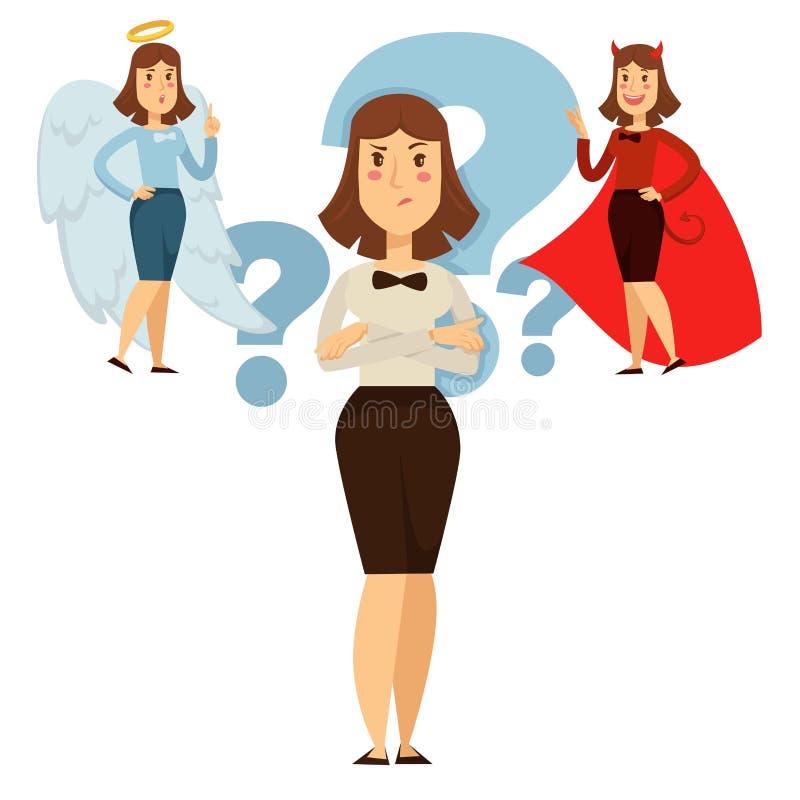 La opción de la mujer entre bueno y el comportamiento, gente decide libre illustration