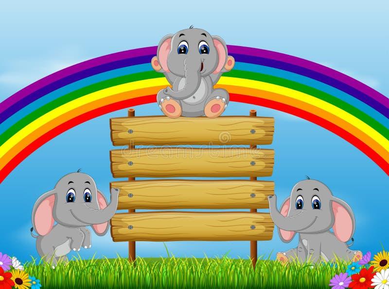 La opinión de la naturaleza con el espacio en blanco del tablero de madera y el elefante tres que juegan cerca de él ilustración del vector
