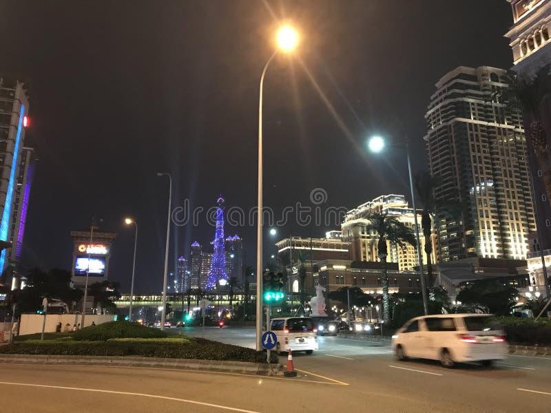 La opinión de la noche de Cotai, Macao fotos de archivo