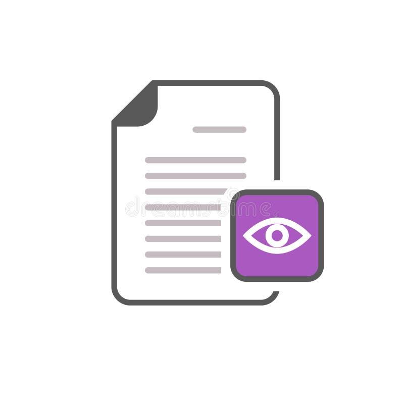La opinión de la página del fichero del ojo del documento ve el icono libre illustration